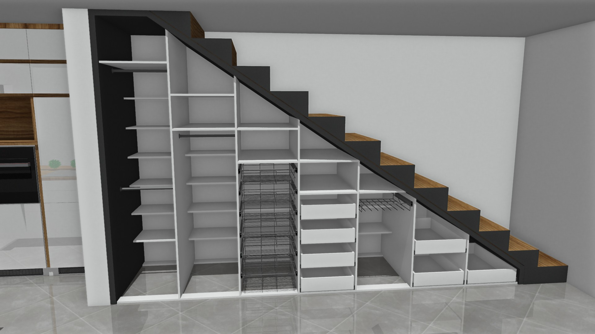 Sekwoja Dębica - Zabudowa pod schodami