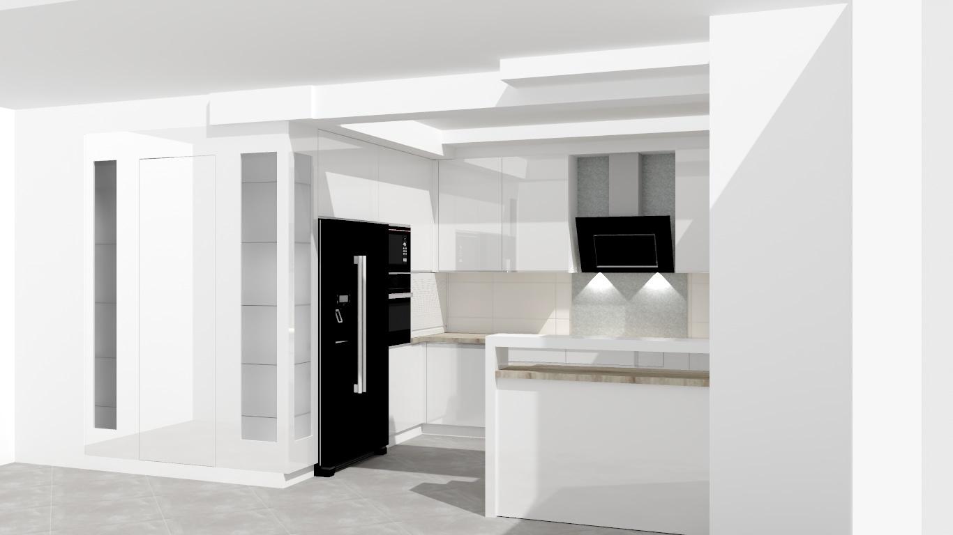 Sekwoja Dębica - Kuchnia biały połysk z ukrytą spiżarnią