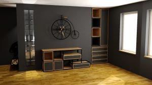 Sekwoja Dębica - Zabudowa ściany w salonie w stylu loftowym