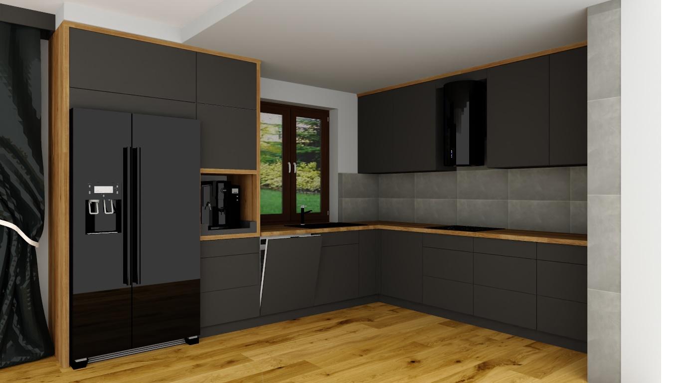 Sekwoja Dębica - Ciemna kuchnia okraszona akcentami drewna