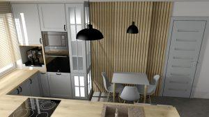 Sekwoja Dębica - Kuchnia w klasycznych szarościach z elementami jasnego drewna